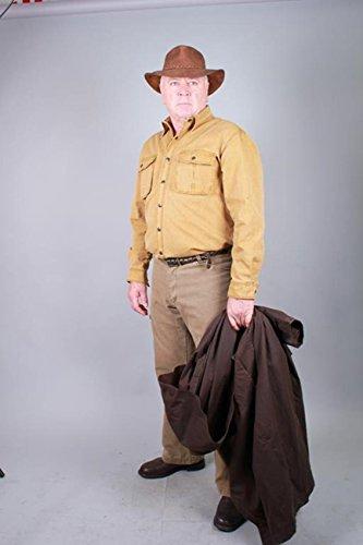 robustes Outdoor Herrenhemd Overshirt in braun, blau und mustard, Langarm- Shirt Tobacco