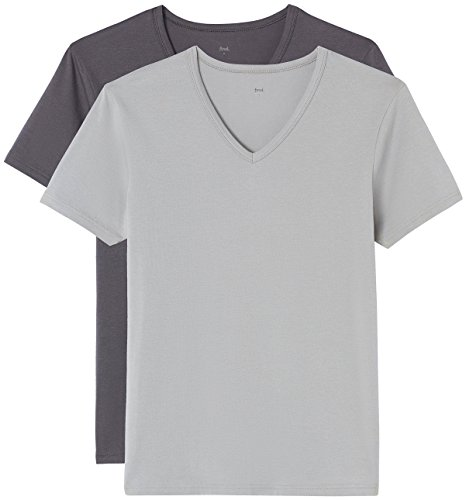 FIND BELK065, Camiseta Para Hombre, Pack de 2, Multicolor (Mid Grey X1/Charcoal...
