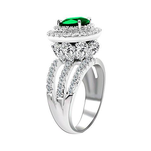 Uloveido Damen Platin plattiert Simulierte Square Green Smaragd Ehering Blume Design Birthstone Ring mit Marquise Cut Zirkonia Größe 52 (16.6) RJ213