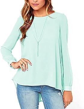 Blivener - Camiseta de manga larga - Básico - Cuello redondo - para mujer