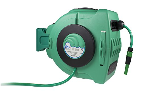as – Schwabe Automatik-Wasserschlauch-Trommel für Garten, Garage, Landwirtschaft inklusive Wasserschlauch, grün, 12616