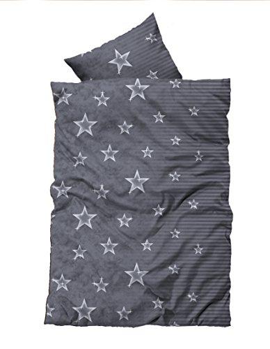Leonado-Vicenti 2 tlg Flausch Bettwäsche 155x220 cm Übergröße Sterne Grau Thermofleece