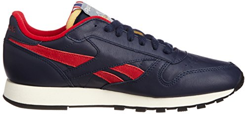 Reebok Cl Leather Vintage Insp L, Baskets mode homme Bleu (Collegiate Navy/Red/Sandtrap)