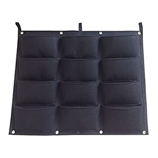 AmgateEu Vertical Wall Garden Planter 12 Pockets Wall-mounted Plant~ Large Size 24.4 in * 32 in ~ for Indoor/outdoor, Eco-friendly Recycled Materials ~ Premium Strong & Durable Felt for Excellent Irrigation, Easy to Hang & Fill. The Best Urban Garden for Your Plants to Grow & Thrive in - Replacement Guarantee