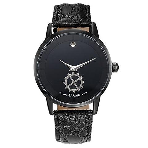 Hongboom Noir véritable de bande de cuir montre bracelet étanche à 30m pour homme décontracté Business Quartz Analogique