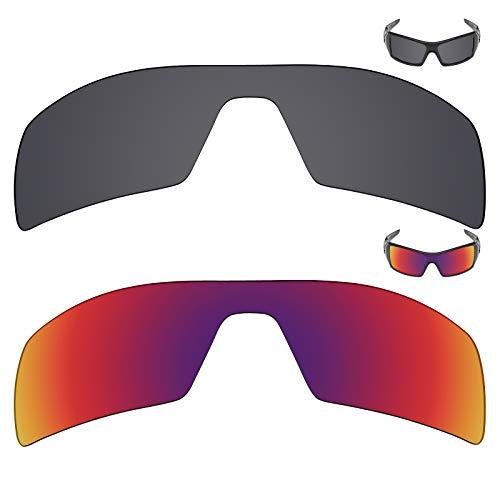 MRY 2Paar Polarisierte Ersatz Gläser für Oakley Oil Rig Sonnenbrille-Rich Option Farben, Stealth Black & Midnight Sun