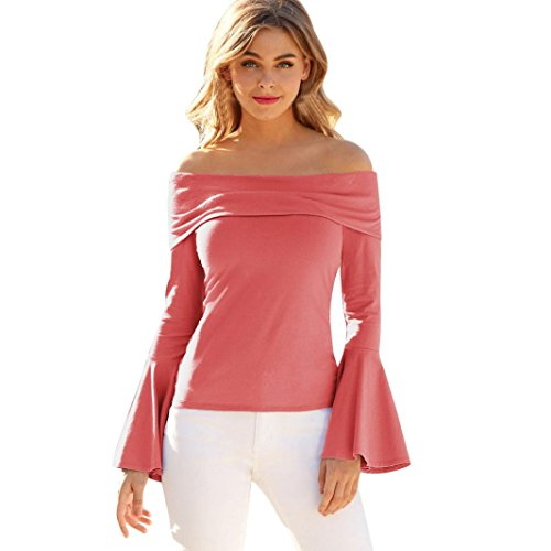 Casual Schulterfrei Tops Langarm T-Shirt T-Shirt Bluse Oberteile(Rosa,XX-Large) (Superwoman Arten Von Halloween Kostüme)