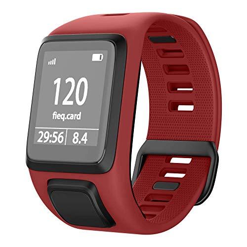 NotoCity Tomtom Runner 3 Armband/Runner 2/Spark 3/Adventurer/Golfer 2 Uhrenarmband Silikon Uhrenbänder für Tomtom Watch (Rot)