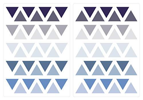 dekodino Wandtattoo Kinderzimmer Wandsticker Set Dreiecke in Pastell Blau und Pastell Gr