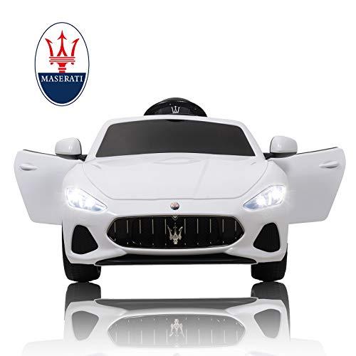 mecor Maserati 12V Voiture Electrique pour Enfants avec Télécommande, MP3, lumière, Blanc