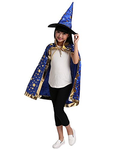 osplay Hexen Robe Umhang Zauberer Set mit Hut Design Funkelnde Sterne für Kinder Blau (Süße Hexe Halloween Kostüme Frauen)