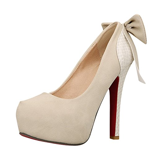 Mee Shoes Damen mit Schleife Plateau high heels Pumps Beige