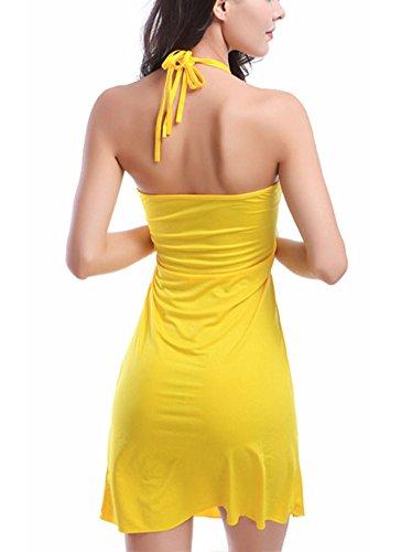 Damen Wickelkleid Strandkleid Off Shoulder Casual Kleid Beachwear Gelb