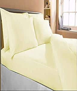 """Bombay Dyeing Plain Cotton Double Bedsheet With 2 Pillow Covers - 100 x 90"""", Yellow"""