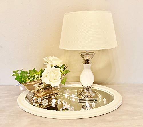 DRULINE White Lovely Keramik Lampe Lampenfuß Lampenschirm Nachttischlampe Tischlampe Klein H33 cm Creme