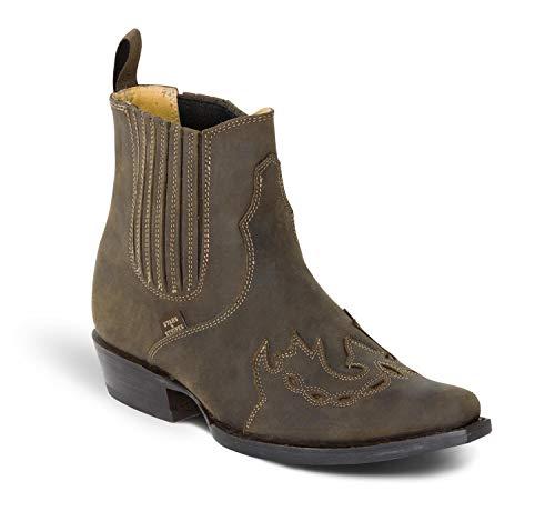 Westernstiefelette WB-37 Cowboystiefel bzw. Cowboy Boots & Bikerstiefel Westernstiefel für Damen und Herren (39) Braun