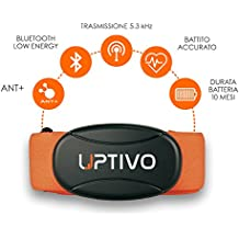 UPTIVO Belt - banda Cardio con triple transmisión: Bluetooth inteligente y ANT + 5 KHz. Compatible con iPhone 4S y posteriores, Android 4.3 y versiones de dispositivos posteriores, equipos cardio utilizables en gimnasio y en casa, Relojes de marca Garmin y Polar. Tamaño S-XL, de color naranja.