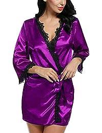 MORCHAN ❤ Femmes Sexy en Soie Kimono s'habiller Babydoll Dentelle Lingerie Ceinture Bain Robe de Nuit Soutien-Gorge sous-vêtements Costume du Corps vêtements de Nuit