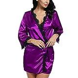 Dorical Wimpernspitze Sleepwear Frau Mode Pyjama Spitze Hohl Slip Sexy Die Seide Kimono Dressing Puppe Spitze Dessous Bad Robe Nachtwäsche Plus Größe Versuchung Unterwäsche Pyjama(Lila,X-Large)