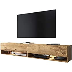 Selsey Wander - Meuble TV Suspendu/Banc TV avec LED (180 cm) (Effet chêne wotan)