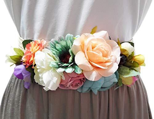 BRANDELIA Cinturones de Flores para Vestidos de Fiesta Mujer Cinturones Elásticos Mujer con Flores Artificiales, Cinta Rafia Multicolor