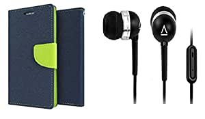 Mercury Flip Cover for HTC D516 (BLUE&GREEN) And Premium Quality Earphone with mic
