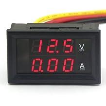 DROK - Voltímetro amperímetro digital (CC 4.5-30 V/10 A 12 V/24 V, panel led, para vehículos)