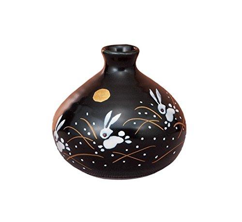 Traditionelle japanische kutani-yaki Keramik Vase Nr. 3One Blume Vase schwarz mit Mond und Kaninchen K4–1246