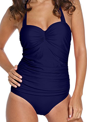 Angerella Vintage 50s Pin Up backless Maillots de bain Maillot une pièce Navy