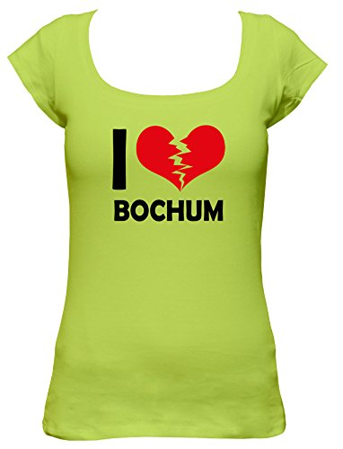 I don\'t love Bochum Fun Damen Boat Neck T-Shirt, Größe:S;Farbe:mintgrün