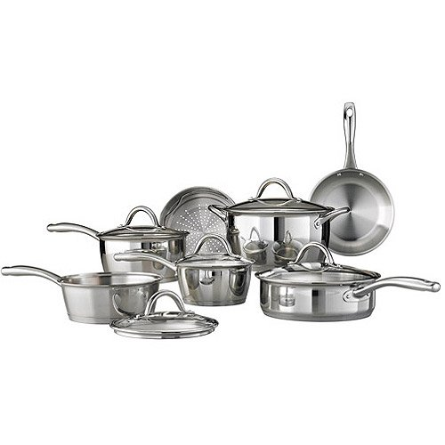 Tramontina 12-Piece Gourmet Tri-Ply Base Cookware Set, Stainless Steel by Tramontina Tramontina Tri-ply