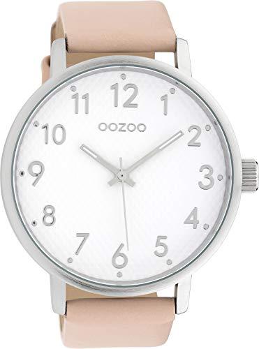 Oozoo Herrenuhr mit Lederband 48 MM Weiss/Pinkgrau C10050