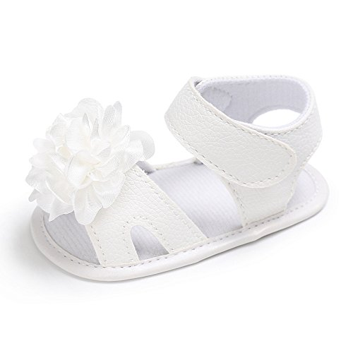 ndalen Baby Blume Dekoration Kleinkind Neugeborenen krippe Schuhe PU Leder Turnschuhe (Weiß,12=6-12 Monate) ()