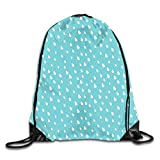 Jebnpse Printed Drawstring Backpacks Bags,Raindrops In Doodle Style Cloudy Wet Weather Day...
