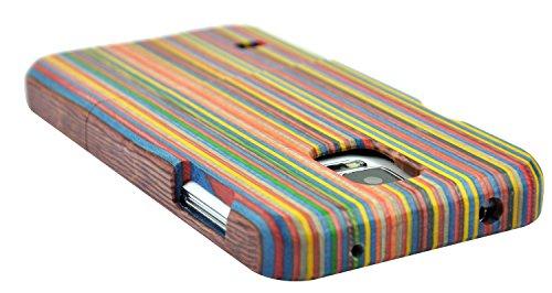 SunSmart Natürliche handgemachte Hartholz Bamboo Case für das Samsung Galaxy S5 mit freiem Schirmschutz (Walnuss-Maske) colourful stripe
