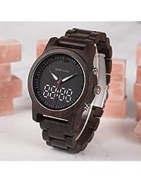 BOBO BIRD Reloj de Madera para Hombre Reloj de Pulsera Digital y Cuarzo Luminoso Reloj de
