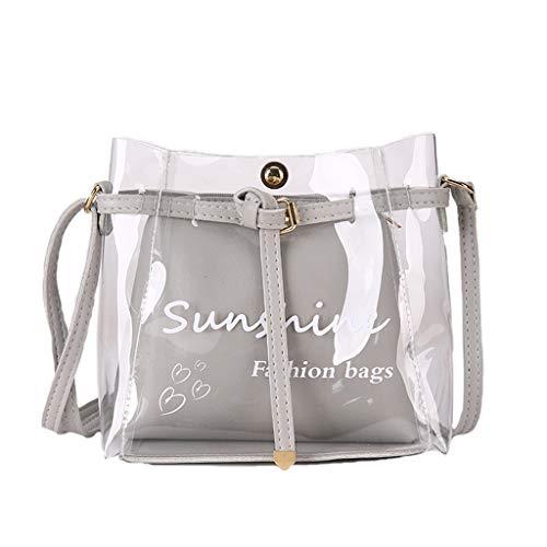 Mitlfuny handbemalte Ledertasche, Schultertasche, Geschenk, Handgefertigte Tasche,Frauen Sommer Kleine Tasche Transparent Jelly Bag Wild Einfache Umhängetasche Set 2tlg