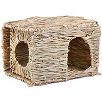 SimpleLife Casa de Paja Plegable para Mascotas Conejo, hámster, Erizo, Conejillo de Indias, Suministros de Nido de Hierba Hechos a Mano, Bricolaje