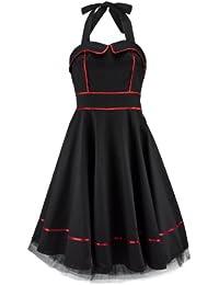H&R London Robe RED PIPING PLAIN noir