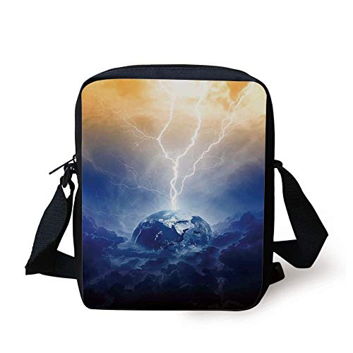 KLYDH Nature,Scientific Space Themed Image Lightning Hits Earth Dark Storm Clouds in Galaxy,Dark Blue Yellow Print Kids Crossbody Messenger Bag Purse (Bag Messenger Print Galaxy)