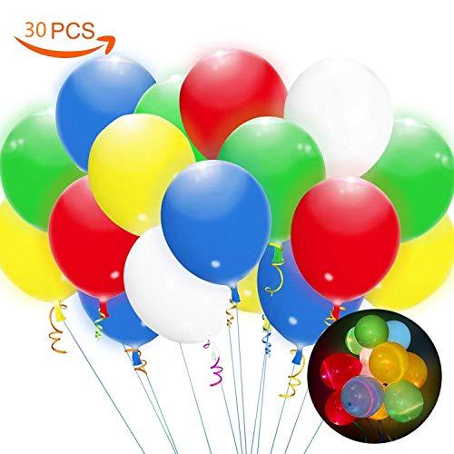 30 pz palloncini colorati led, palloncini luminosi con luce led balloons per matrimonio decorazione sala festa compleanno natale cerimonia riunione ecc