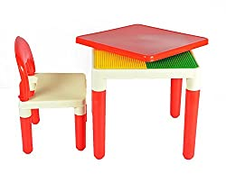 WonderKart 2 in 1 Building Blocks cum Study or Play Table with 2 Chairs (Red)