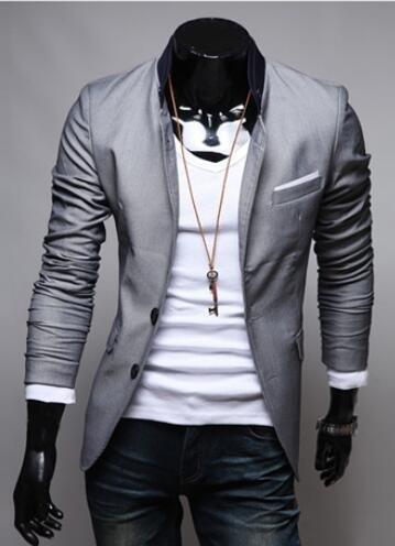 Brinny Herren Slim Fit Stylish Sakko 3 Farben Blazer Freizeit Business Jacke Anzugsjacke Herren Slimfit Blazer Sakko Jacket Jacke Anzugsjacke Grau M Grau