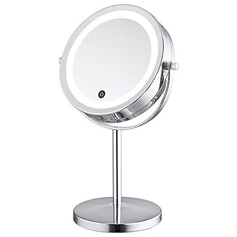 ALHAKIN 360° Dimmbare LED Touchscreen Make up Spiegel Kosmetikspiegel beleuchtet normal und 5-fache Vergrößerung 17,8 cm Durchmesser batteriebetrieb 17 helle (Doppelseitige Beleuchteter Make-up-spiegel)
