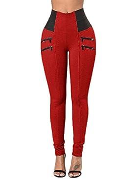Fasumava Las Mujeres Verano Casual Skinny Cintura Alta Pantalones con Cremalleras