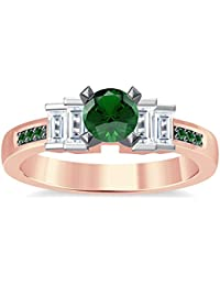 Silvernshine 1.35Ct Round & Buget Cut Green Garnet Sim Dimoands 14K Rose Gold PL Engagement Ring