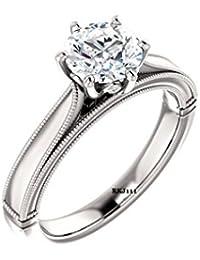 Brilliant corte D/VVS 1,50 ct redondo imitación diamante 14 K oro blanco