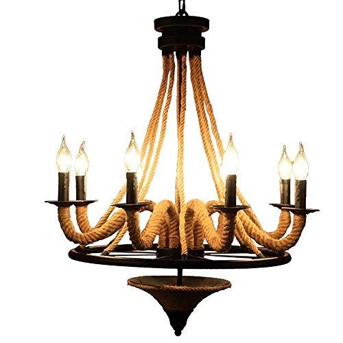 Retro Industrie Hanfseil Kronleuchter Schmiedeeisen Schwarz Kreis Halterung Decke Pendelleuchte Kerze Design Innenbeleuchtung Wohnraum Leuchten Esszimmer Restaurant Lampe E14 6-flammig (8-flammig)