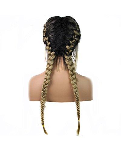 Blonde Perücken mit Baby Haar Hitzebeständig lang geflochten Hair Natural 2x Twist-Zöpfe dunklen Wurzeln Ombre Blond Zwei Tone Synthetik Lace Front Perücken für Frauen Mädchen natürlicher Haaransatz 61cm (2-ton-blonde Perücke)