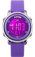 CIVO Boys Girls Kids Children Watches 7 Color LED Light Digital Alarm Timer Stopwatch Waterproof Sports Multifunction Wrist Watch for Children Silicone Purple